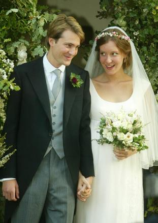 Iris Goldsmith's parents, Ben Goldsmith and Kate Rothschild, at their wedding in Suffolk in 2003