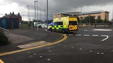 Emergency Services at scene of Hollinwood tram stop in Oldham.
