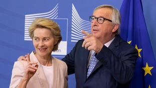 Ursula von der Leyen with outgoing European Commission President Jean-Claude Juncker