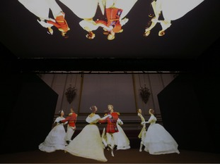 A Victorian illusion technique depicts a group of royal guests dancing a quadrille in the Palace Ballroom.