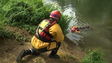 Firefighters stage a rescue