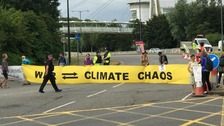 Climate change protestors blockade road outside Ministry of Defence