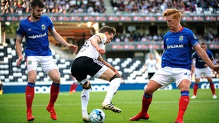 Rosenborg's Anders Konradsen against Linfield