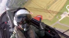 Astronaut Tim Peake completes Red Arrows loop