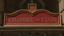 Chambre Des Etats sign outside States Building in Jersey, written in Jèrriais