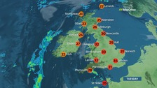 UK weather: Thunderstorm risk as temperatures rise as high as 34C