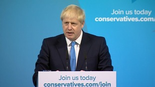 Boris Johnson gives his speech after winning the leadership contest.