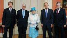 The Queen with David Cameron and three of his predecessors (left to right) Sir John Major, Tony Blair and Gordon Brown.