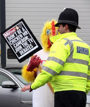 The Mirror chicken was on the campaign trail again in 2015, urging David Cameron to take part in TV debates