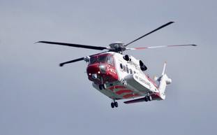The helicopter called to help rescue a man and a woman from Filey Brigg in North Yorkshire