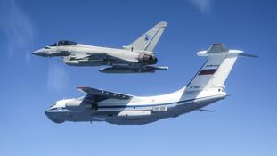 RAF share photos of Typhoon jets intercepting Russian military aircraft near Estonia