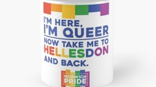 Some of the Norwich Pride merchandise on sale