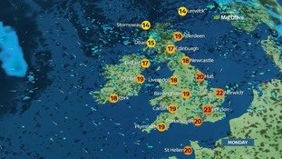 Breezy Monday with sunny spells and scattered showers