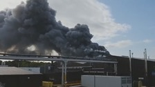 Fire at site of Village Bakery on Wrexham Industrial Estate