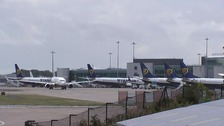 Ryanair planes at Stansted.