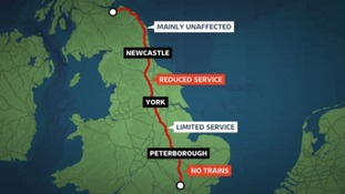 A map of disrupted services during the Bank Holiday