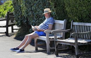 A man enjoys the sunny weather in Broadstairs Kent