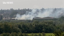 The blaze started after 75 tonnes of cardboard caught fire