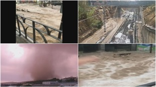 Hailstorms, flash floods and tornadoes hit parts of Spain on Monday.
