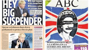 How the papers reacted to Boris Johnson's plan to prorogue Parliament.