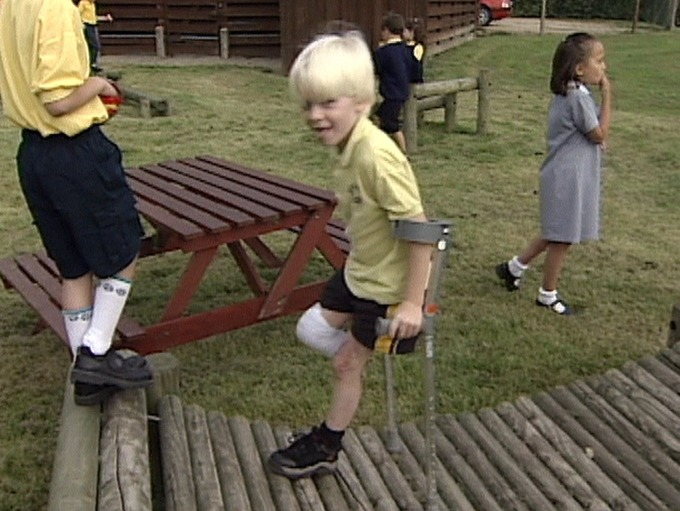 Jonnie Peacock at school at the age of six, pictured in an ITV News Anglia report from 1999.