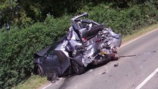 One of the cars involved in the crash at Little Hadham near Bishop's Stortford.