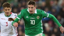 Lafferty in action against Belarus earlier this year.