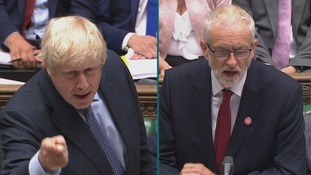 Prime Minister Boris Johnson and Leader of the Opposition Jeremy Corbyn clash in the House of Commons over the question of an early election.