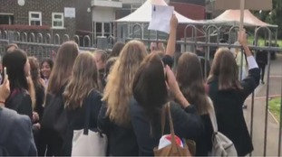 Pupils protest over school's trousers only uniform plan