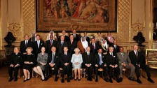 Queen Elizabeth II with her Royal guests from around the world pose for a picture before her Sovereign Monarchs Jubilee lunch.