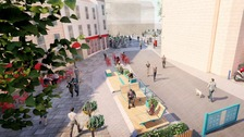 An artists impression of a car-free Kingsmead Square