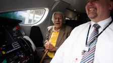 Former train driver marks 100th birthday back in the cab