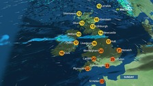 Warm in the south but cloudy and wet across central areas