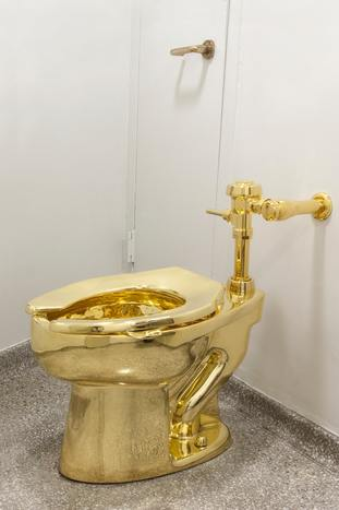 The solid gold toilet which has been stolen from Blenheim Palace