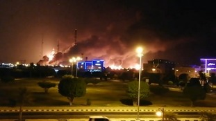 Saudi oil refineries burn after the alleged drone attack.