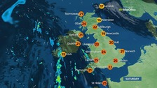 Warm and sunny for most with top temperatures of 26C