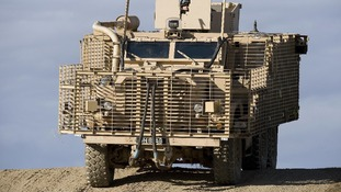 The British soldiers were travelling in a Mastiff armoured vehicle like this one when it hit the device.