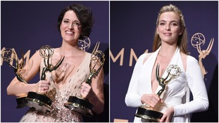 Phoebe Waller-Bridge and Jodie Comer with their awards at last night's Emmys.