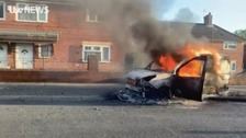 Three teenagers arrested over arson attack on police van