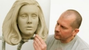 Sculptor Louis Wiltshire  works on Adele's clay head