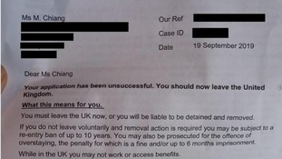The letter Dr Chiang recieved from the Home Office informing her that she could be detained and deported.
