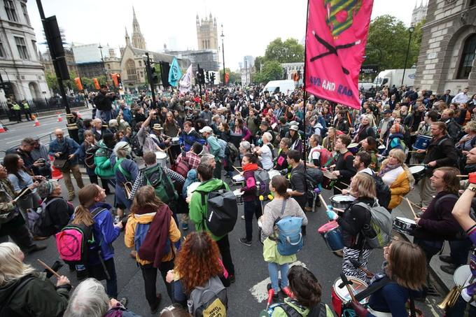 Drumming, whistles and chanting rang through the streets of London as protesters attempted to block the routes into the centre of Government around Parliament and Whitehall