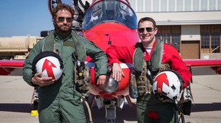 Red Arrows take actor Gerard Butler sky high during Stateside tour