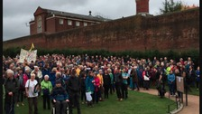 Hundreds join Reading Gaol hug event to keep prison in the community