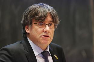 Exiled former president of the Government of Catalonia Carles Puigdemont speaks at Trinity College Dublin