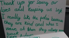 Little boy leaves note on police windscreen to thank officers for 'saving lives'
