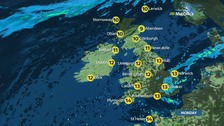 Rain in the southeast with sunny spells in the rest of the UK