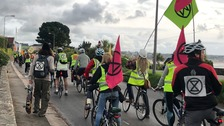 Extinction Rebellion cyclists cause disruption during Jersey's rush hour