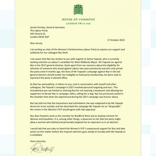 Chair of Women's PLP, Rosie Duffield's letter to Jennie Formby, raising concerns about Yaqoob's alleged behaviour.