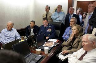 Barack Obama and his staff watch the raid that ended in the death of Osama bin Laden in the Situation Room of the White House in Washington